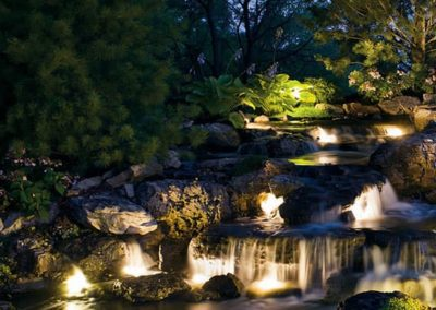 Woody's Lawn & Landscape Lincoln, NE | outdoor lighting water feature